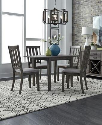 Tanners Creek Collection 686-CD-5DLS 5PC Drop Leaf Table Set with 4x Slat Side Chair and 1 Drop Leaf Table in Gray Tweed and Tapered Legs in