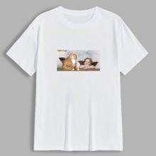 T-Shirt mit Katze und Engel Grafik