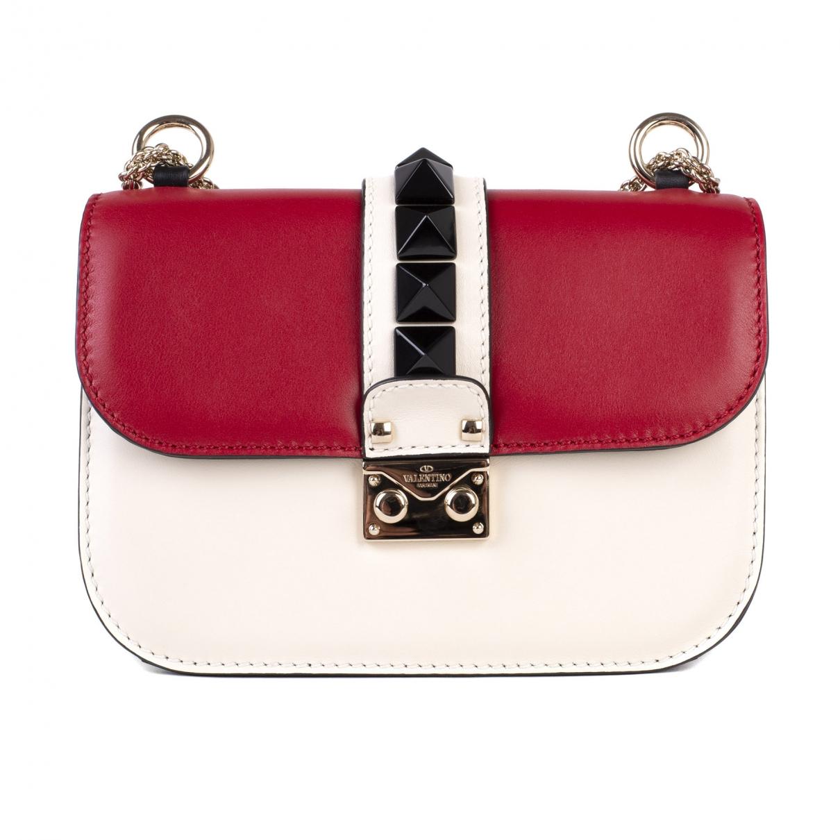 Valentino Garavani Glam Lock Handtasche in  Rot Leder