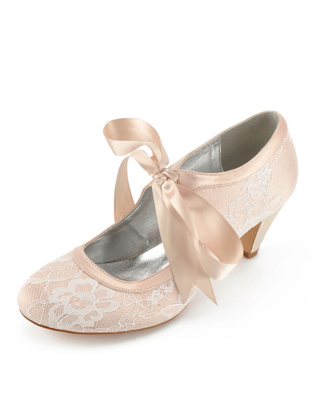 Milanoo Champagne Wedding Shoes Lace Round Toe Lace Up Bridesmaid Shoes