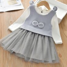 Toddler Girls Patched Bow Front Top With Frill Mesh Panel Dress