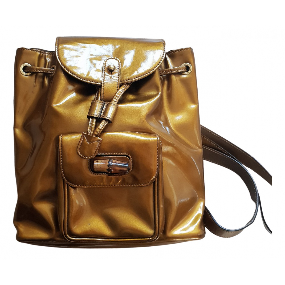 Gucci Bamboo Gold Patent leather backpack for Women \N