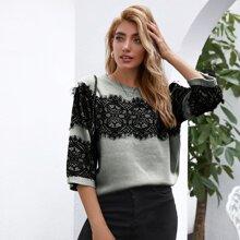 Eyelash Lace Insert Sweater
