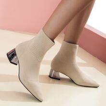 Botas calcetines con tacon grueso