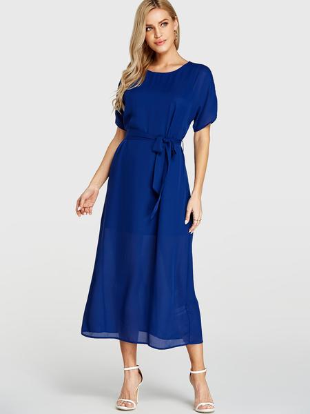 YOINS Blue Round Neck Short Sleeves Self-tie Design Dress