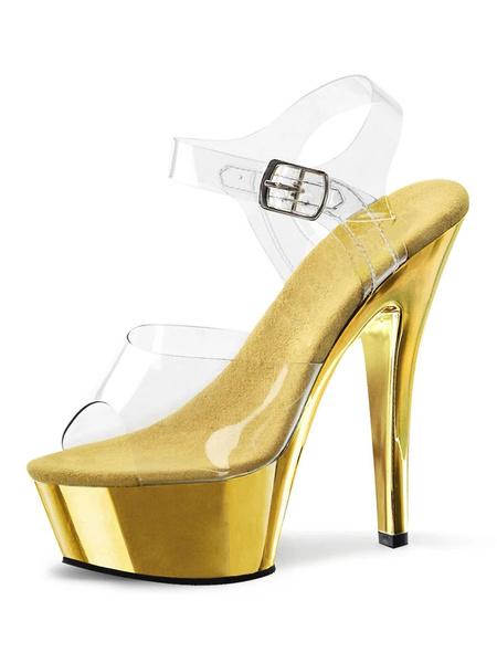 Milanoo Sandalias atractivas de las mujeres Sandalias atractivas de la correa del tobillo del cuero del peep toe rubio