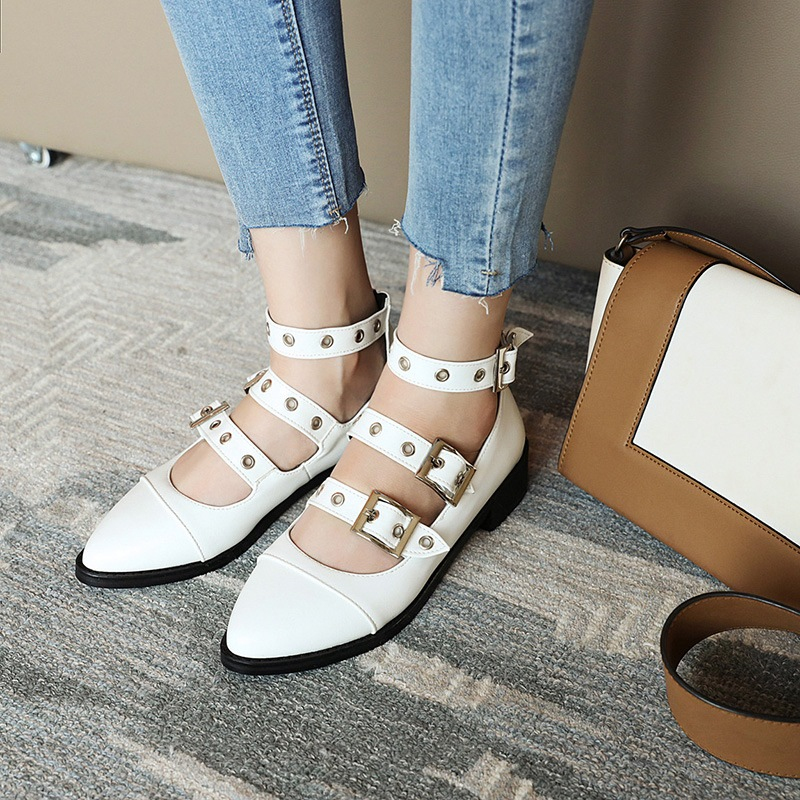 Ericdress Block Heel Buckle Pointed Toe Casual Thin Shoes