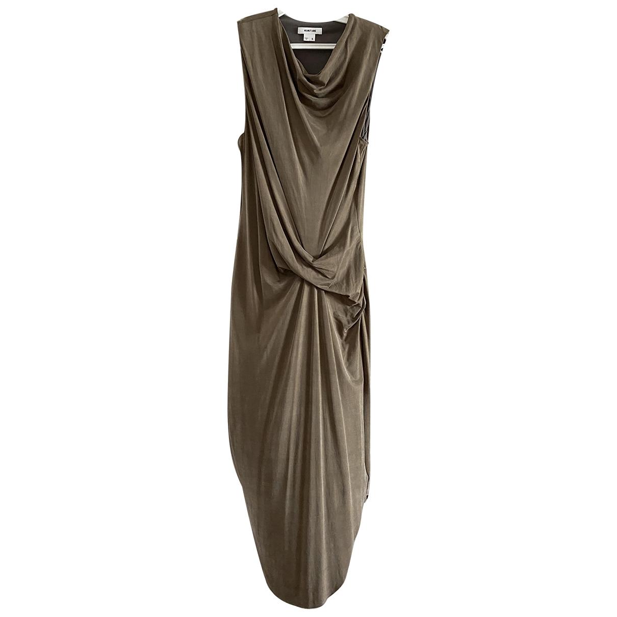 Helmut Lang \N Kleid in  Khaki Baumwolle - Elasthan