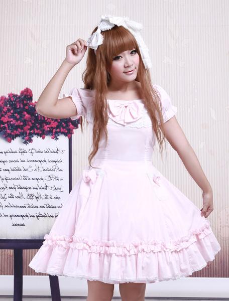Milanoo Cotton Pink Lace Short Sleeves Cosplay Lolita Dress