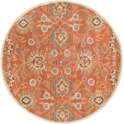 Caesar CAE-1107 6' Round Traditional Rug in Burnt Orange  Khaki  Denim  Dark Brown  Tan