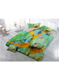 Big Eye Frog Wear-resistant Breathable High Quality 60s Cotton 4-Piece 3D Bedding Sets