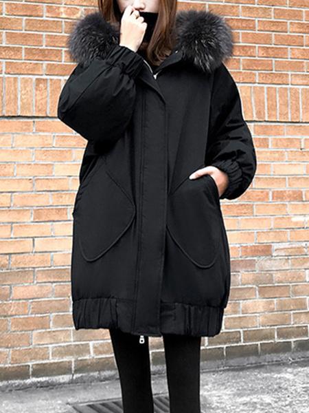Milanoo Puffer Coats Black Oversized Pockets Hooded Zipper Long Sleeves Casual Normal Winter Coat Outerwear