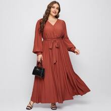 Plus Surplice Neck Belted Pleated Dress