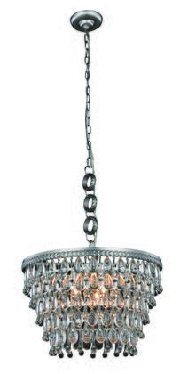 1219D19AS/RC Nordic Collection Pendant Lamp D:19 H:12 Lt:5 Antique Silver Finish Royal Cut