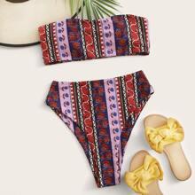 Tribal Bandeau High Waisted Bikini Swimsuit