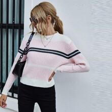 Rippenstrick Pullover mit Streifen und Stehkragen
