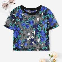 Embroidered Floral Sheer Mesh Crop Top
