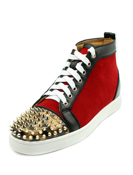 Milanoo Red Mens Sneakers 2020 Leather Round Toe Rivets Lace Up High Top Skate Shoes