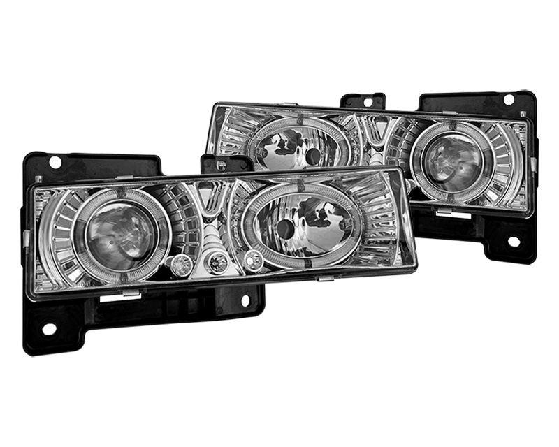 Winjet WJ10-0002-01 Clear Chrome Halo Projector Head Lights GMC CK 1500 88-98