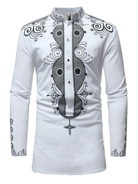 Milanoo Camisa de manga larga Estampado etnico Stand Collar Hombres Camisa casual