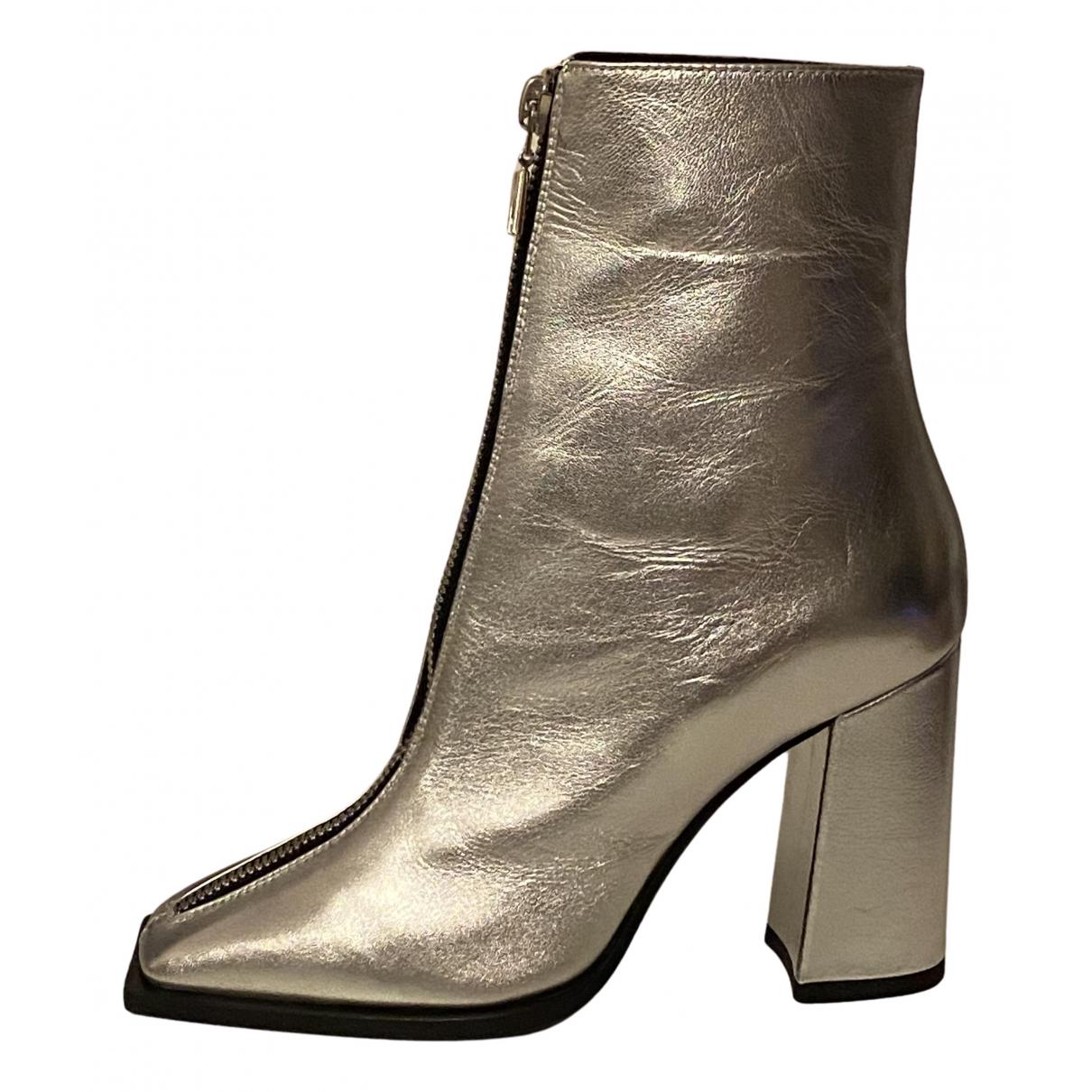 Msgm - Bottes   pour femme en cuir - argente