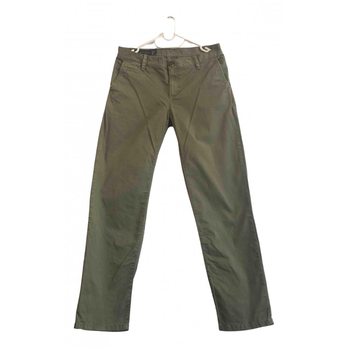 Emporio Armani \N Green Cotton Trousers for Women 10 UK