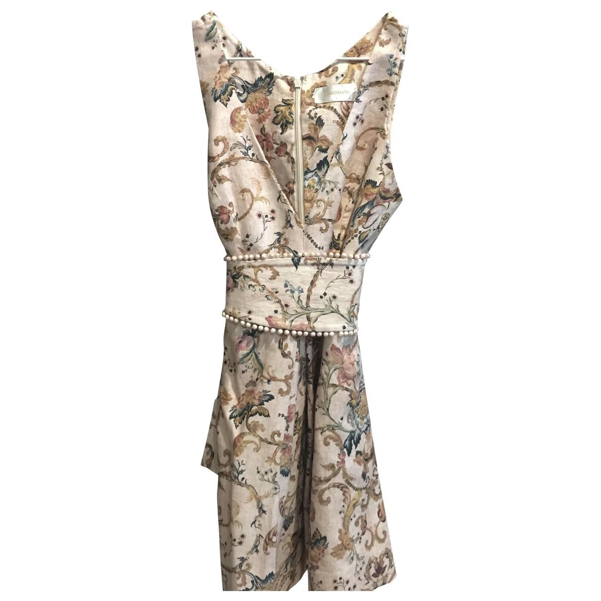 Zimmermann - Robe   pour femme en lin - rose