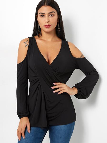 Yoins Black Wrap Design V-neck Cold Shoulder Long Sleeves T-shirt