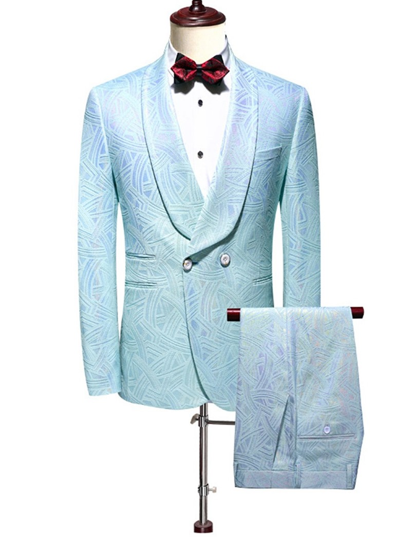Ericdress Fashion Pocket Double-Breasted Men's Dress Suit