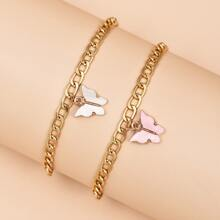 2pcs Butterfly Decor Anklet