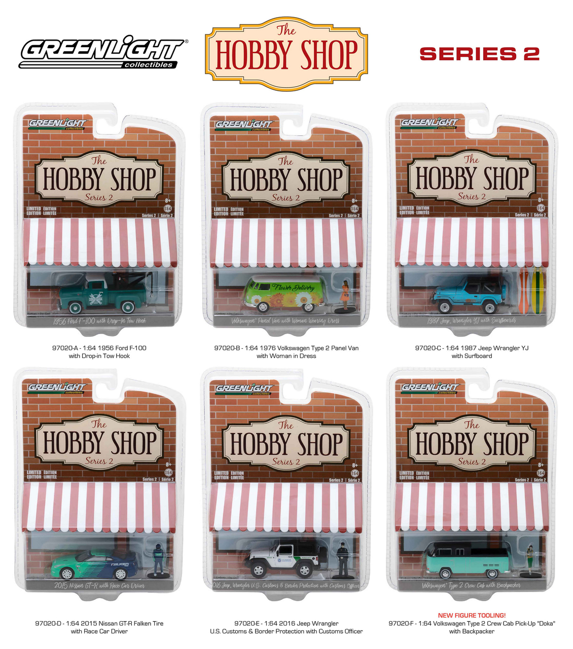 The Hobby Shop Series 2 6pc Set 1/64 Diecast Model Cars by Greenlight