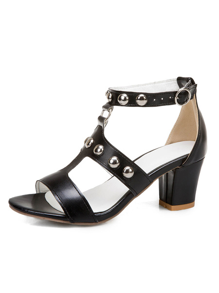 Milanoo Mid Heel Sandals Womens T-strap Studded Open Toe Chunky Heel Sandals