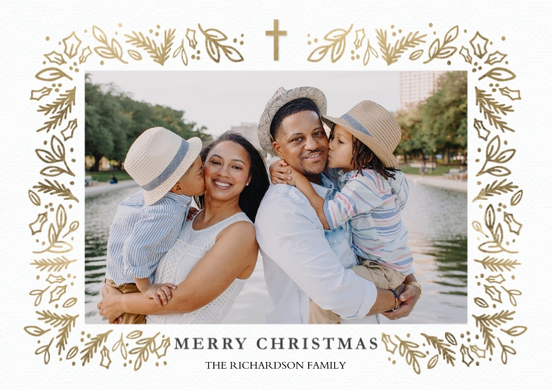 Christmas Photo Cards 5x7 Cards, Premium Cardstock 120lb with Elegant Corners, Card & Stationery -Christmas Cross Gold by Tumbalina