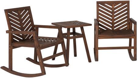 GOWVINRCDB-3 3-Piece Outdoor Rocking Chair Chat Set in Dark