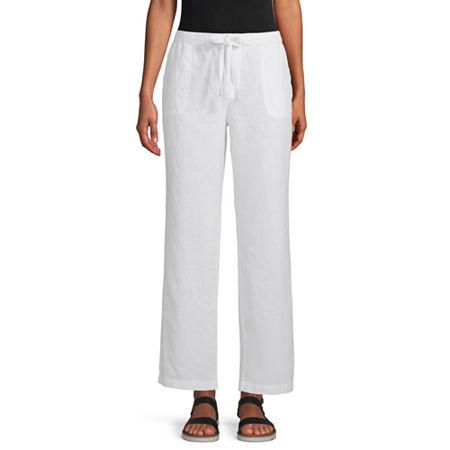 Liz Claiborne Womens Wide Leg Drawstring Pants, Medium , White