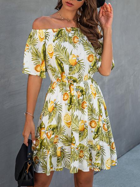 Milanoo Summer Dress Bateau Neck Printed White Beach Dress