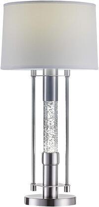 Olsen Collection 40155 Table Lamp  LED Light  Glitter Night Light  Drum Shade  White Finish  Metal Base Brushed Nickel  in Brushed Nickel