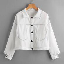 Contrast Stitching Split Sleeve Jacket