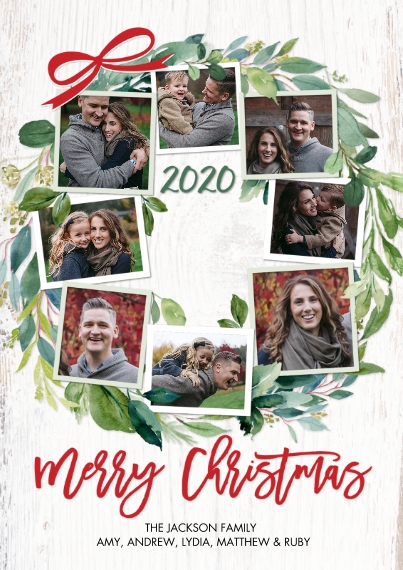 Christmas Photo Cards Flat Glossy Photo Paper Cards with Envelopes, 5x7, Card & Stationery -Christmas 2020 Green Wreath by Tumbalina