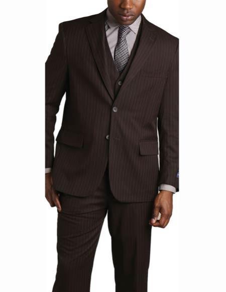 Mens 2 Button Brown Vested Banker  Lapel 3 Piece Suit