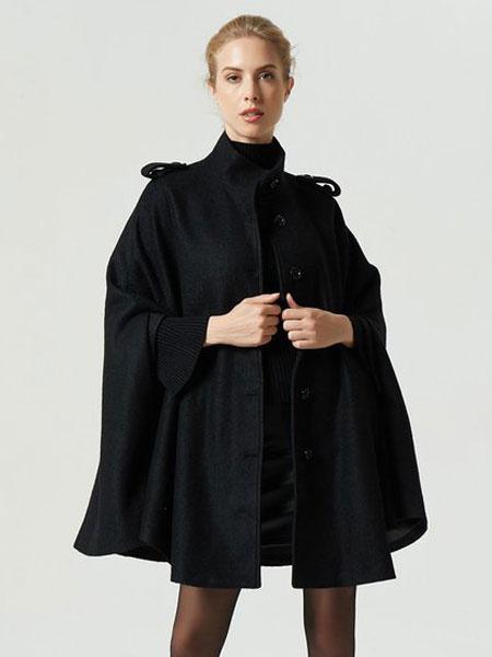 Milanoo Black Poncho Coat Women Long Sleeve High Collar Oversized Cape Coat