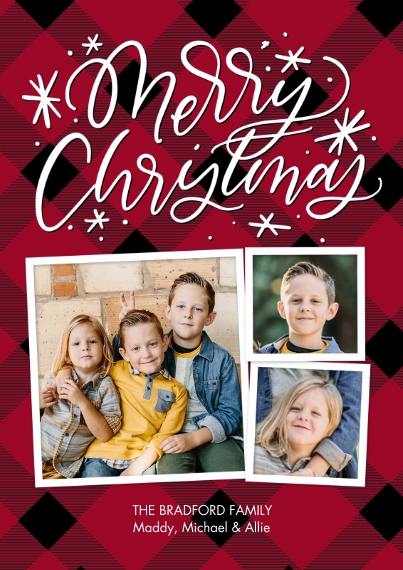 Christmas Photo Cards 5x7 Cards, Premium Cardstock 120lb with Elegant Corners, Card & Stationery -Christmas Swirls Script by Tumbalina