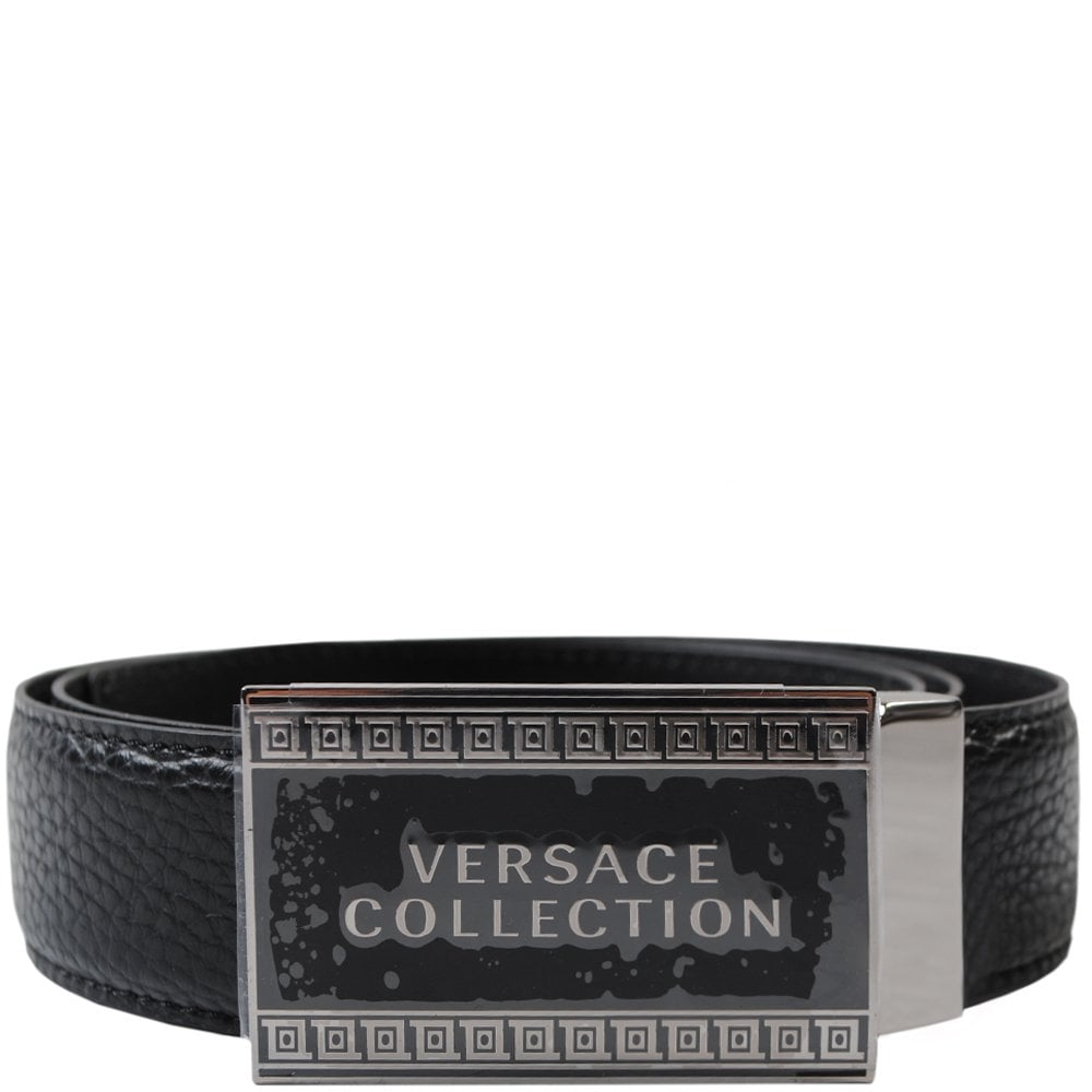 Versace Collection Logo Plaque Belt Colour: BLACK, Size: 28