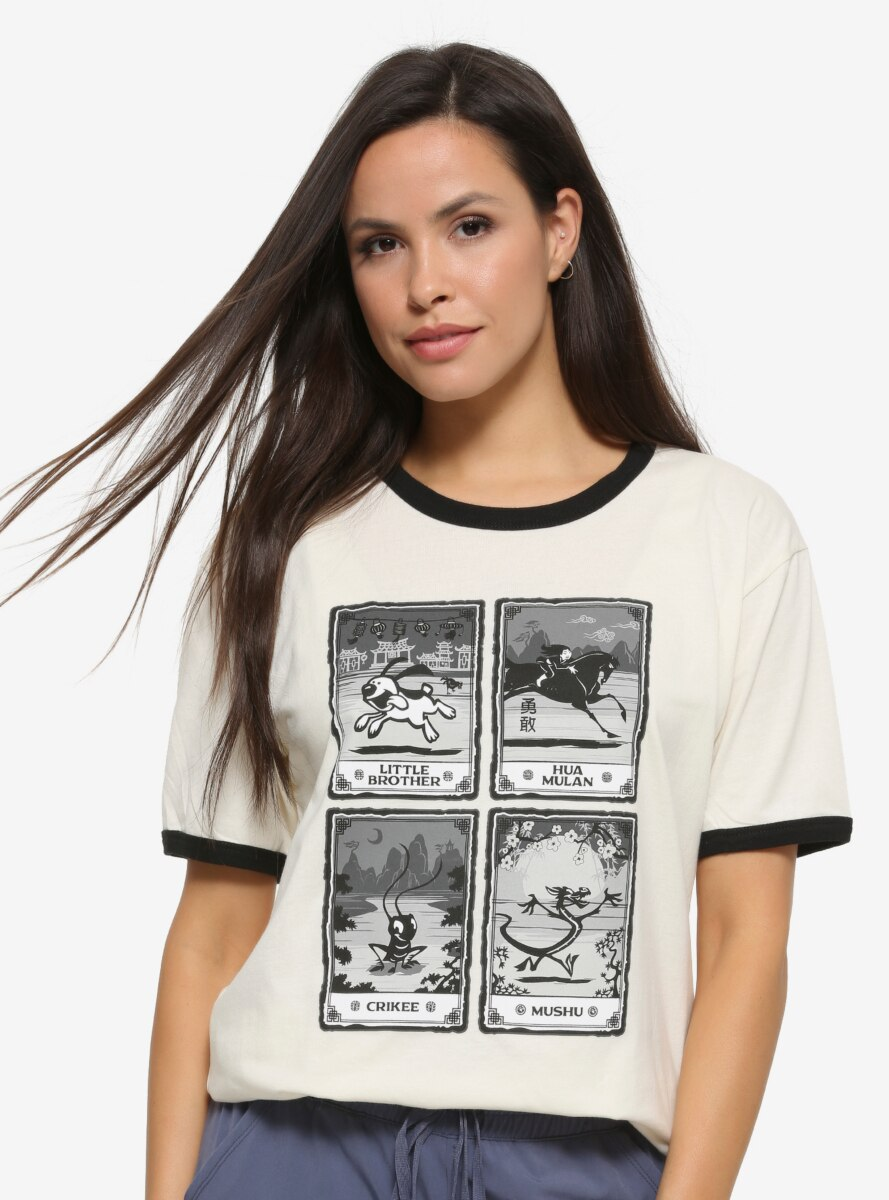 Disney Mulan Character Cards Women's Ringer T-Shirt - BoxLunch Exclusive