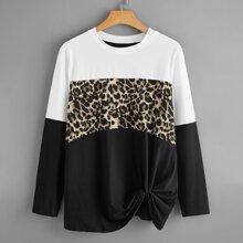 Plus Leopard Print Colorblock Twist Hem Tee