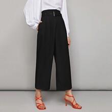 Pantalones anchos con cinturon de cintura alta