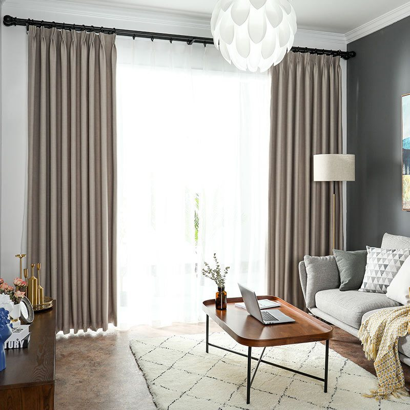 Nordic Modern Simple Linen Plain Blackout Custom Grommet Curtains Ultraviolet-proof and Heat Insulationfor Lingving Room