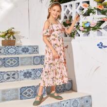 Schulterfreies Kleid mit Raffungsaum, Blumen Muster und Falten