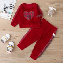 Baby Girl Contrast Tartan Velvet Sweatshirt & Sweatpants