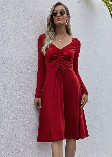 Red Dresses Long Sleeve V Neck Center Shirred Dress - XL